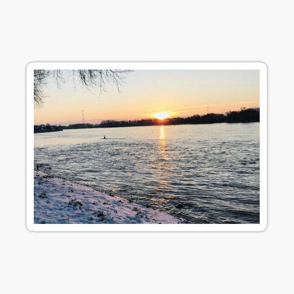 Winter snow sun above the river Sticker