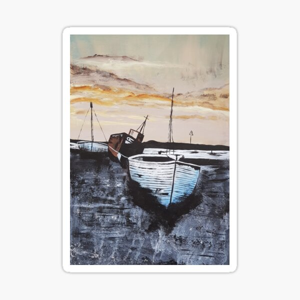 Boats At Low Tide Sunset Sticker