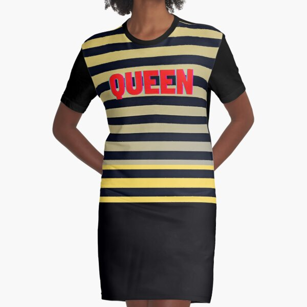 Queen Bee Striped Yellow Black Graphic T-Shirt Dress