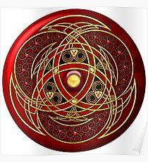 Rot und Gold Celtic Medaillon Poster