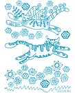 Cats Ascamper - turquoise print by TangerineMeg