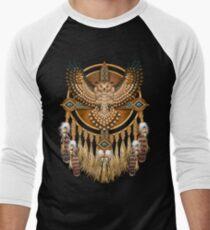 Indianische Beadwork Owl Mandala Baseballshirt mit 3/4-Arm