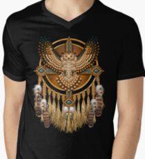 Camiseta para hombre de cuello en v Buho de abalorios nativo americano Mandala