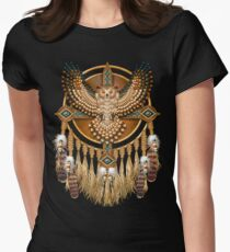 Native American Beadwork Owl Mandala Women's Fitted T-Shirt