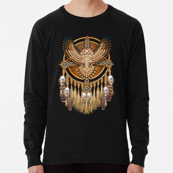 Native American Beadwork Owl Mandala Lightweight Sweatshirt