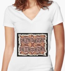 """""""Cayonland Digital Parchment"""" © 2008 Brad Michael Moore Women's Fitted V-Neck T-Shirt"""