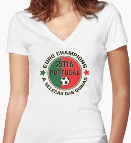 Portugal Euro 2016 Champions T-Shirts etc. ID-7 Women's Fitted V-Neck T-Shirt
