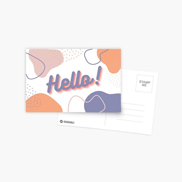 """""""Hello"""" Pastel Abstract Card Postcard"""