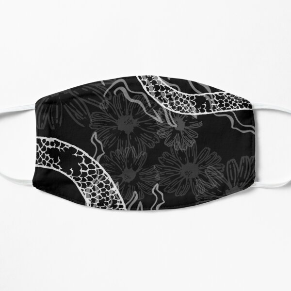 Dragon Scales and Floral Pattern Black Flat Mask