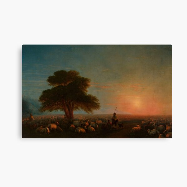 Shepherds with a flock of sheep (1872) By Ivan Konstantinovich Aivazovsky  Canvas Print