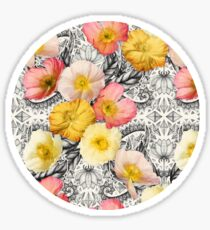 Collage of Poppies and Pattern Sticker