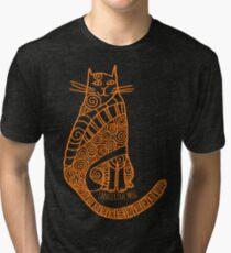 Rufus Cat (orange print) Tri-blend T-Shirt