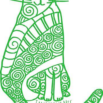 Rufus Cat (green print) by TangerineMeg