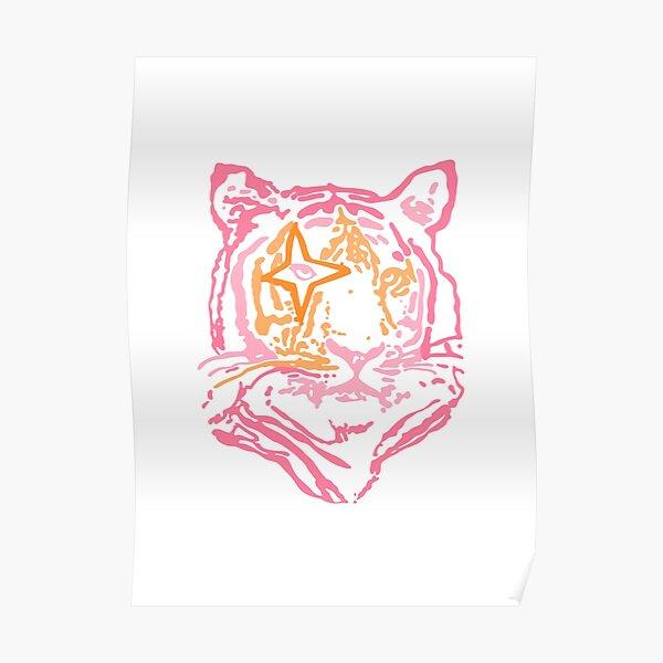 pink and orange star tiger Poster