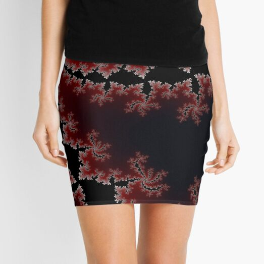 Sprialing Fractal in Red Mini Skirt
