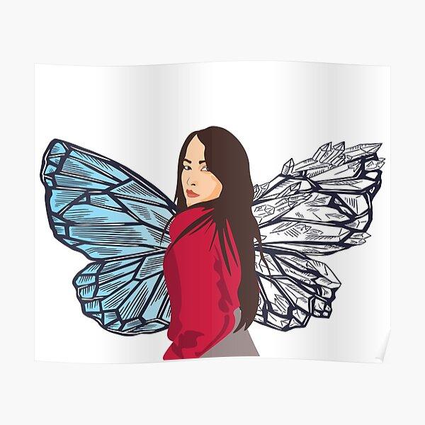 Butterfly Girl Portrait-  Protikhya Gondhia Poster