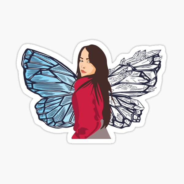 Butterfly Girl Portrait-  Protikhya Gondhia Sticker
