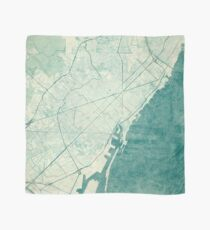 Barcelona Map Blue Vintage Scarf