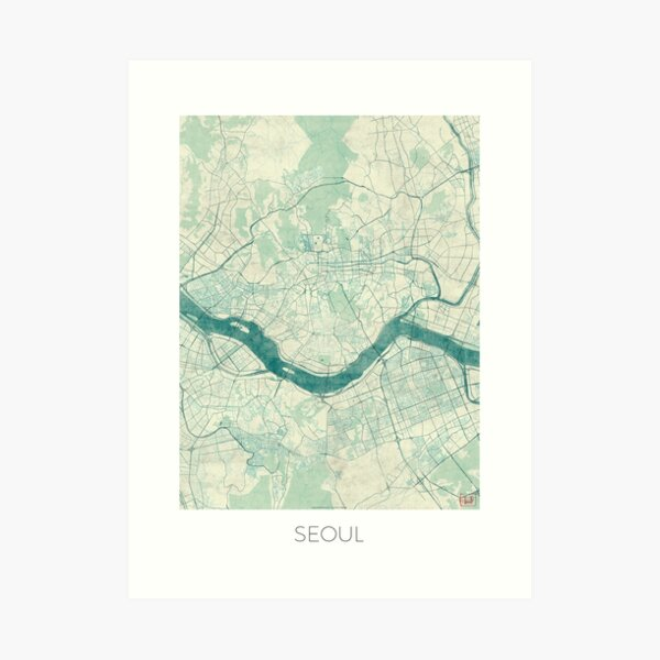 Seoul Map Blue Vintage Art Print