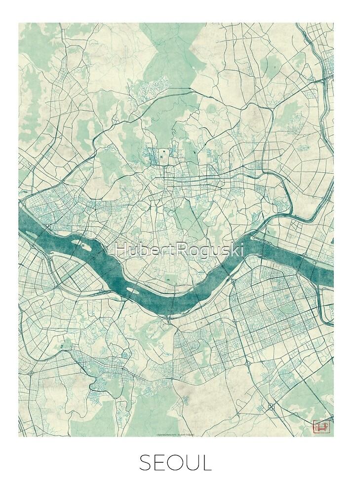 Seoul Map Blue Vintage by HubertRoguski