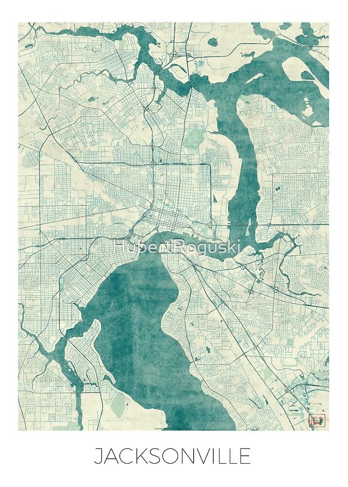 Jacksonville Map Blue Vintage by HubertRoguski