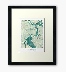 Jacksonville Map Blue Vintage Framed Print