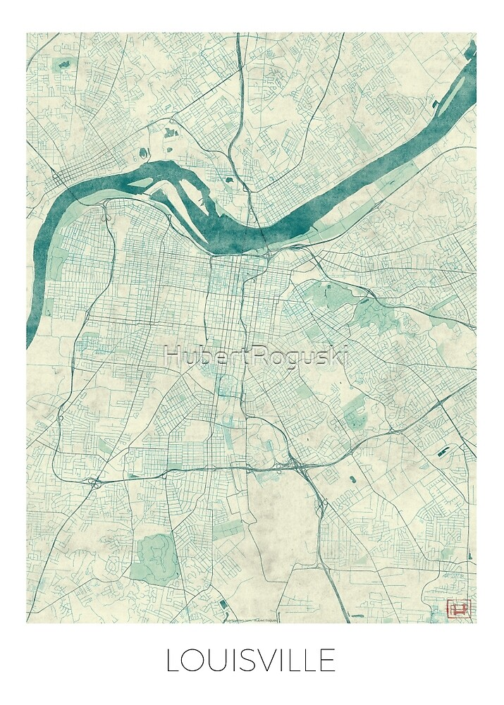 Louisville Map Blue Vintage by HubertRoguski