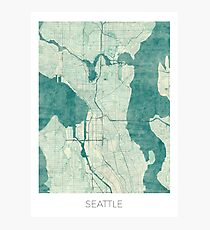 Seattle Map Blue Vintage Photographic Print