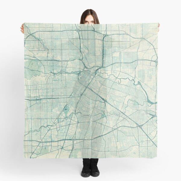 Houston Map Blue Vintage Scarf