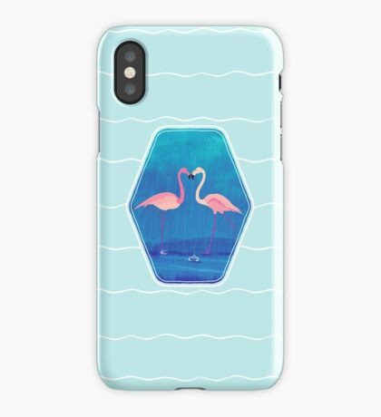 Flamingos in love iPhone Case