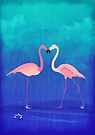 Flamingos in love by Sybille Sterk