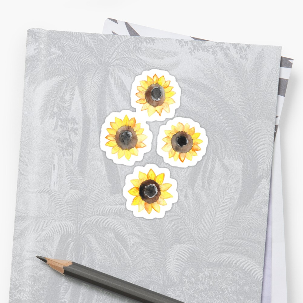 Cheerful Watercolor Sunflowers Sticker Front