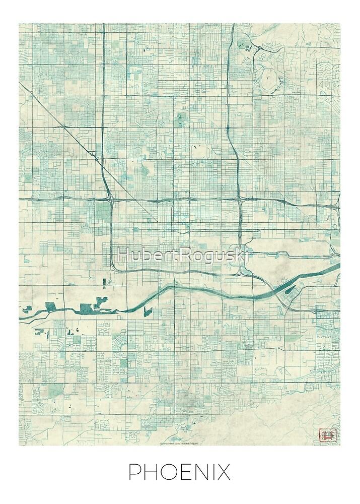 Phoenix Map Blue Vintage by HubertRoguski