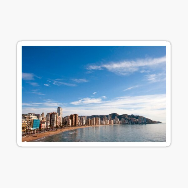 La playa de Levante de Benidorm Costa Mediterránea España Pegatina