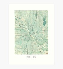 Dallas Map Blue Vintage Art Print