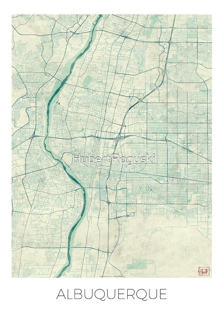 Albuquerque Map Blue Vintage by HubertRoguski