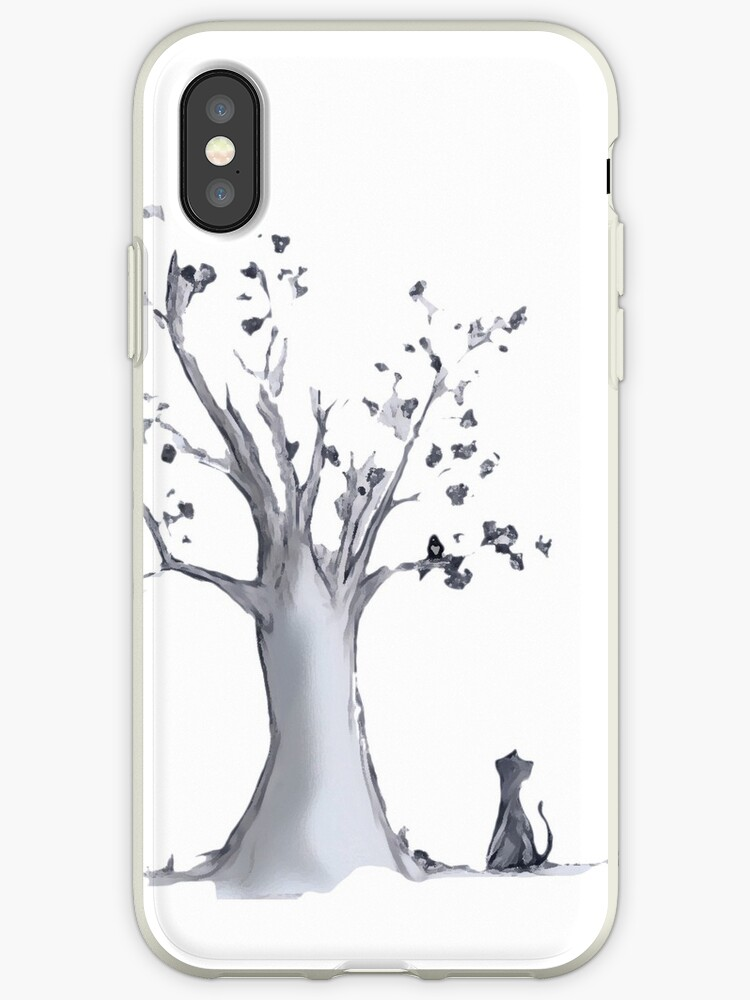 Tree, cat and bird by Lorena Enciso