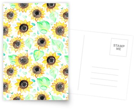 Cheerful Watercolor Sunflowers by Tangerine-Tane