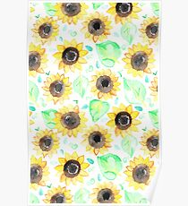 Cheerful Watercolor Sunflowers Poster