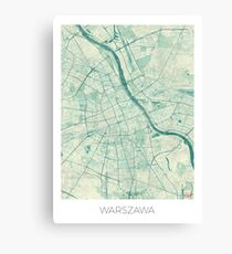Warsaw Map Blue Vintage Canvas Print