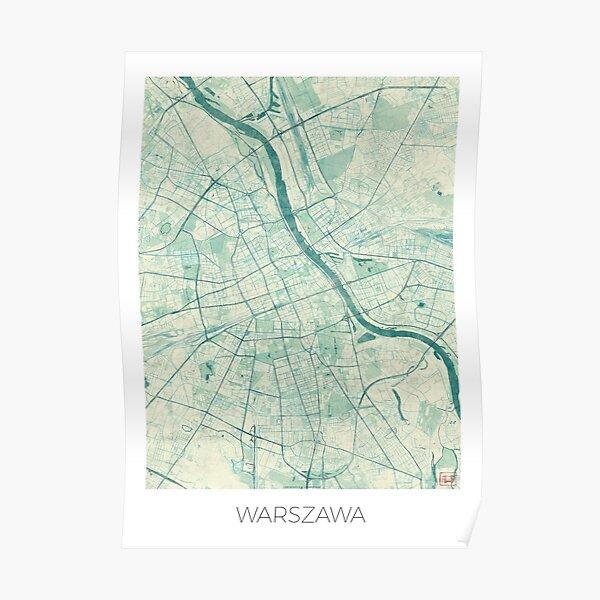 Warsaw Map Blue Vintage Poster