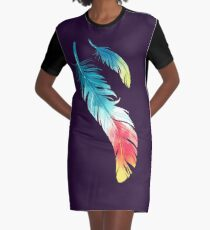 Feather Graphic T-Shirt Dress
