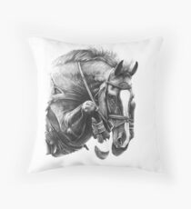 Catching Air - Showjumping Horse Throw Pillow