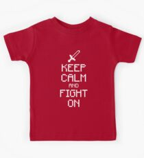 Keep calm and fight on (white) Kids Tee