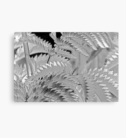 Shimmery, Silvery, Leafy, Zig-Zag - Abstract Canvas Print