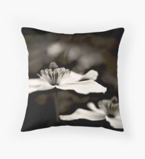 Clematis flower (in black and white) Throw Pillow