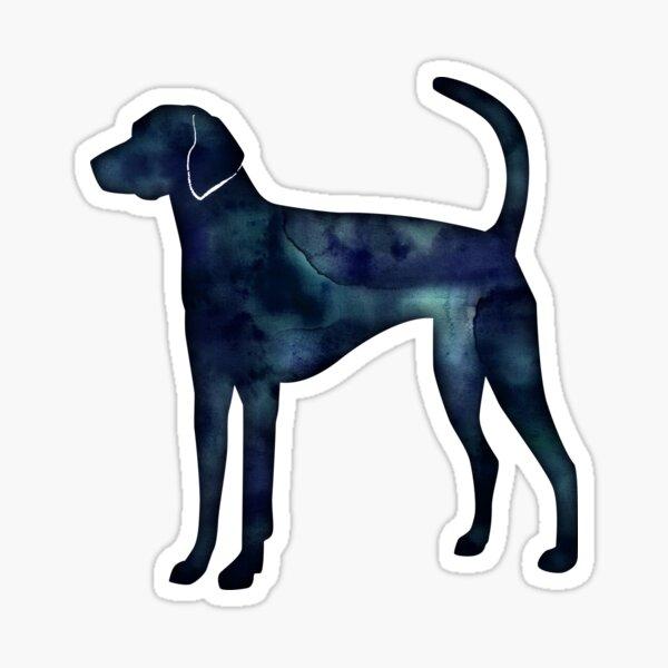 American Foxhound Black Watercolor Silhouette Sticker