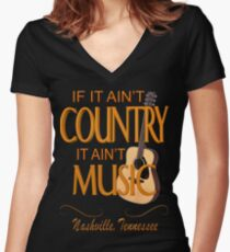 Nashville Country Music  Women's Fitted V-Neck T-Shirt
