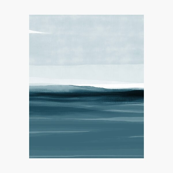 Watercolor Abstract 08 Landscape Deep Blue Photographic Print