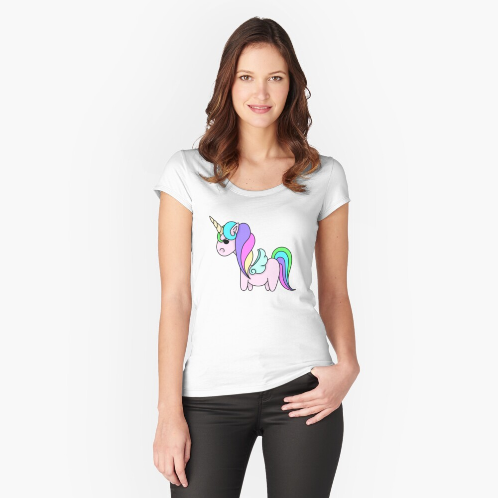 Rainbow unicorn Women's Fitted Scoop T-Shirt Front